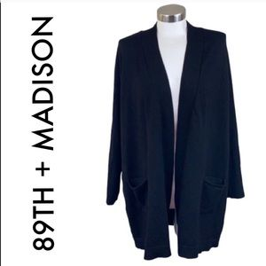 89TH + MADISON LONG BLACK CARDIGAN SIZE 1X